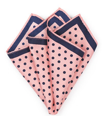Pink and Navy Polka Dot Pocket Square