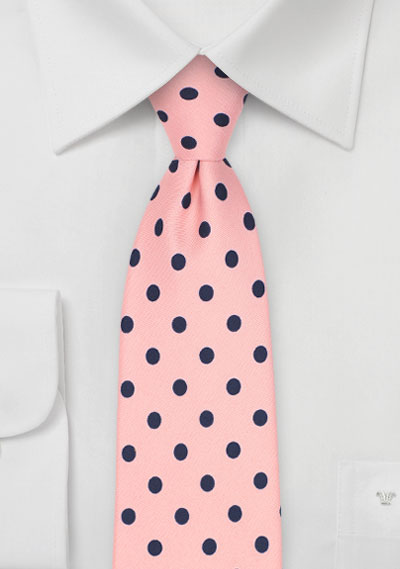 Pink and Navy Polka Dot Tie