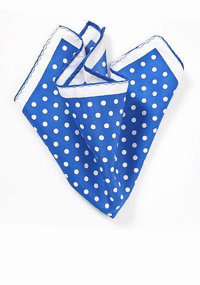 Bright Blue and White Pocket Square