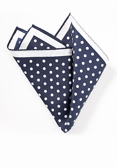 Polka Dot Pocket Square in Navy and White
