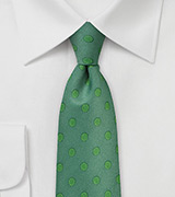 Large Polka Dot Necktie in Ivy Green