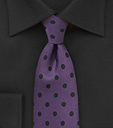 Grape Purple and Black Polka Dot Tie