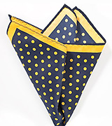 Navy and Yellow Dot Print Pocket Square