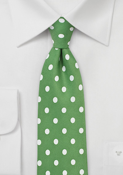 Polka Dot Tie in Grass Green