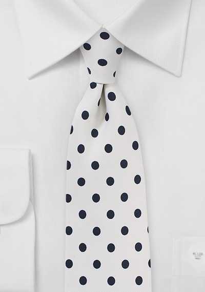 White Necktie with Black Polka Dots