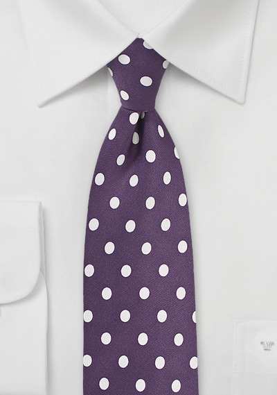 Plum Purple Tie with White Polka Dots
