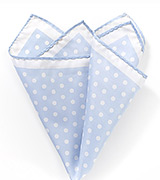 Pale Blue and White Polka Dot Pocket Square