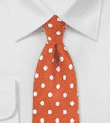 Polka Dot Tie in Firecracker Orange