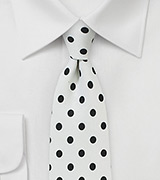 Mens Tie in White with Large Navy Dots