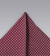 Burgundy Pin Dot Pocket Square