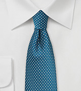 Teal Pin Dot Tie in Skinny Cut