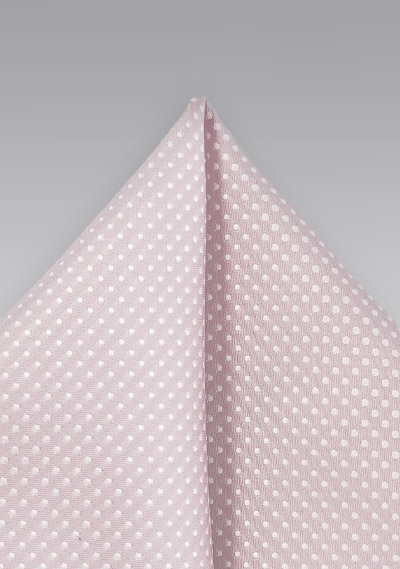 Petal Pink Pocket Square with Woven Dots