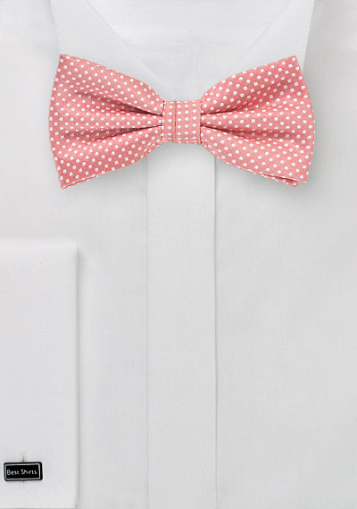 Pin Dot Bow Tie in Light Coral Pink