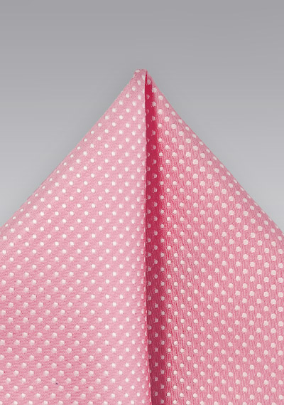 Pin Dotted Pocket Square in Tulip Pink