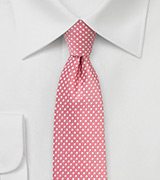 Light Coral Pink Pin Dot Tie