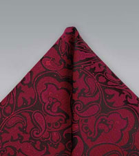 Burgundy Red Paisley Pocket Square