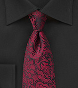 Paisley Mens Tie in Bordeaux Red