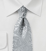 Silver Paisley Tie for Kids