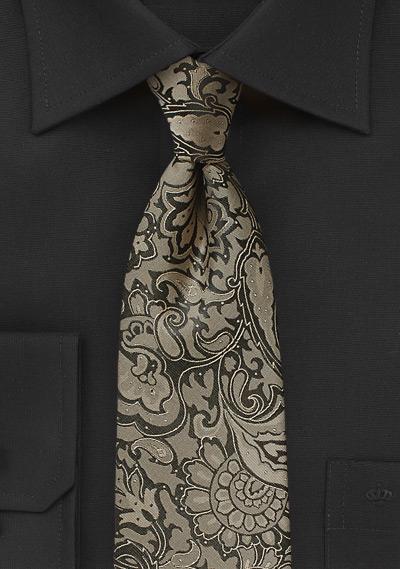 Kids Paisley Tie in Golden Bronze