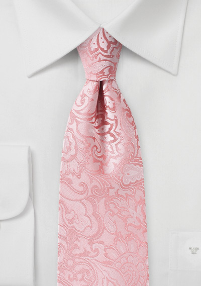 Tulip Color Paisley Tie for Tall Men