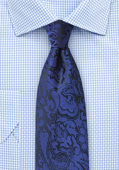 Royal Blue Paisley Tie in XL