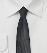Ribbed Textured Black Skinny Tie