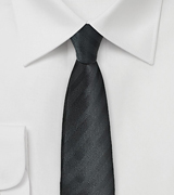Textured Striped Skinny Tie in Black