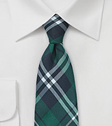Forest Green Plaid Cotton Tie