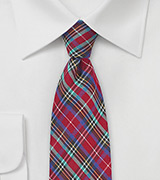 Colorful Summer Plaid Cotton Necktie