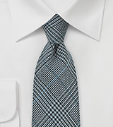 Glen Check Wool tie in Denim Blue