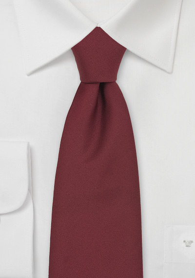 British Mens Tie in Solid Burgundy