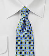 Floral Tie in Blue, Yellow, and Navy