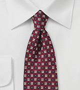 Burgundy Tie with Cream and Navy Flowers