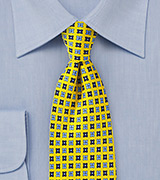 Yellow and Blue Floral Summer Silk Tie