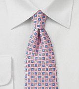 Floral Tie in Pink, Lavender, and Cream