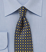Midnight Blue Foulard Silk Tie