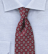 Port Red Floral Tie