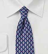Retro Pattern Silk Tie in Navy, Red, and Light Blue