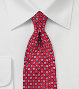 Geometric Floral Tie in Cherry Red and Blue