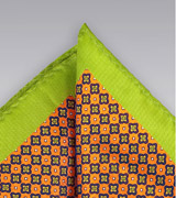 Foulard Print Pocket Square in Orange and Lime