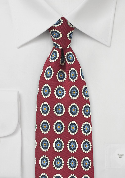 Wine Red and Cream Medallion Print Tie