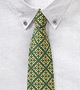 Vintage Green and Yellow Spanish Tile Design Tie