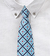 Tile Pattern Cotton Skinny Tie