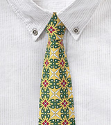 Vintage Yellow and Green Geometric Cotton Tie
