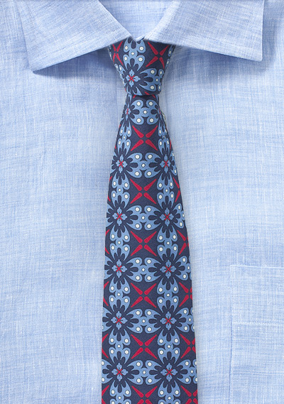 Wild Cotton Print Skinny Tie in Red and Blues