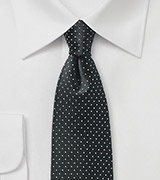 Black and Silver Pin Dot Silk Tie