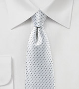 Pin Dot Silk Tie in Platinum Silver