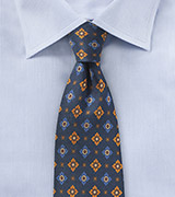Vintage Print Tie in Navy and Orange