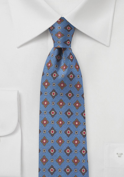 Vintage Medallion Print Tie in French Blue