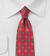 Mens Designer Silk Tie in Red and Olive